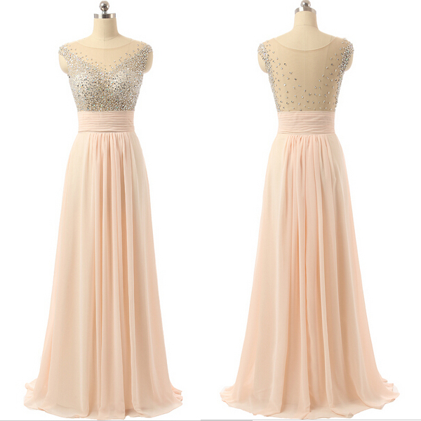 9544a77e7d29 Blush Pink Floor Length A-Line Pleated Prom Dress Featuring Plunge V  Illusion Neckline,