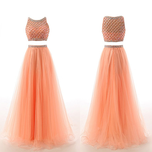 efd507fcbf5 Coral Two-Piece Prom Dress Featuring Beaded Embellished Halter Neck Crop  Bodice and Long Tulle
