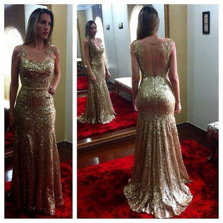 Prom Dressesevening Dressparty Dressesopen Back Sexy Gold