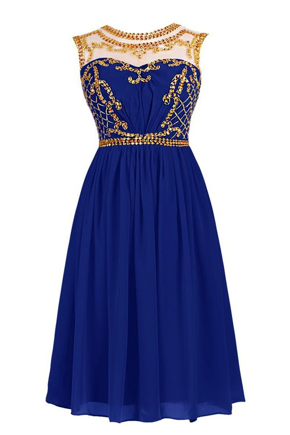 602181a71e7965 Royal Blue Short Homecoming Dress with Illusion Neckline and Gold Sequin  Embellishment