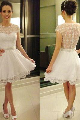 Homecoming Dresses, White Lace Homecoming Dresses, See Through Homecoming Dresses, Cheap Homecoming Dresses, Popular Homecoming Dresses, Short Prom Dresses