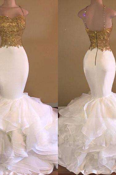Prom Dress,Spagnetti Straps Party Dress,White Mermaid Party Dress,High Quality
