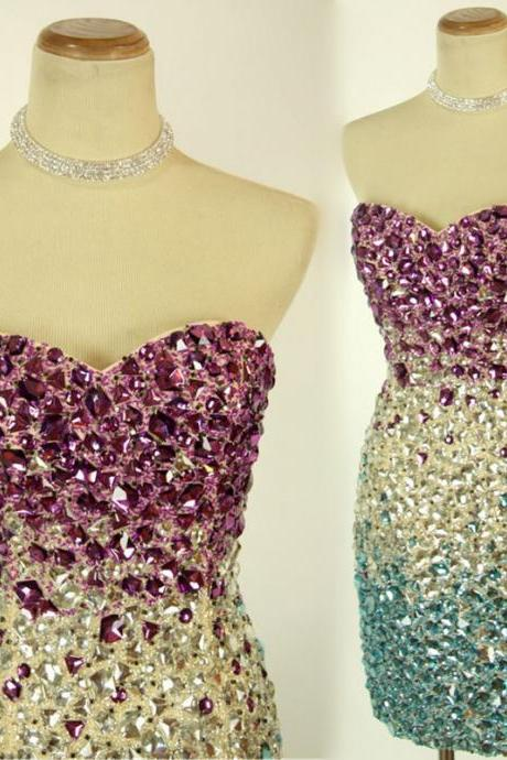 Luxury Strapless Colorful Beaded Crystal Homecoming Dresses Short Prom Dress grade graduation dresses Cocktail Gowns Sexy