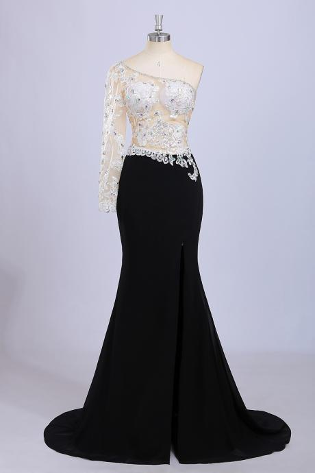Real Photo One Shoulder See Through Top Appliques Beaded Black Evening Dress Mermaid Floor Long Split Prom Dress