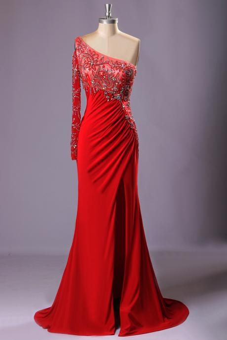 Red Bling One Shoulder Beads Crystal Para Formatura Longo Sexy Dress Mermaid Prom Dresses Real Photo Evening Dress