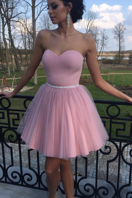 A Line Homecoming Dress, Junior Party Dress, Short Homecoming Dress,Pink Cheap Homecoming Dresses