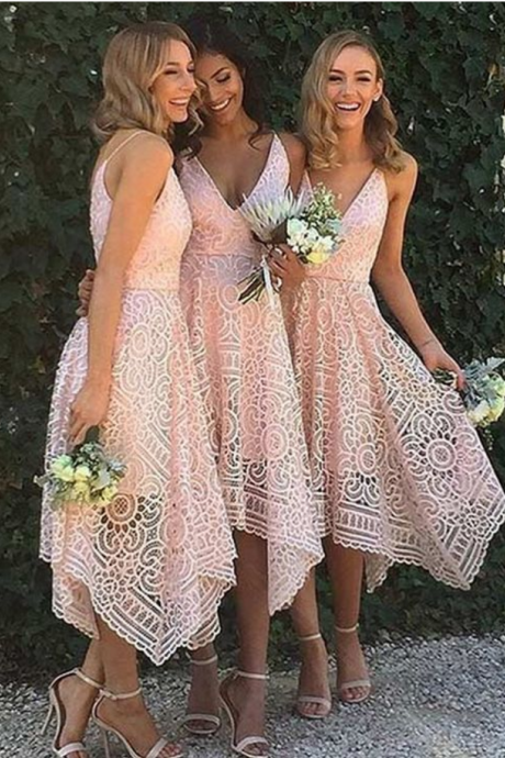 Wedding Party Dress, Hot Style Bridesmaid Dresses ,Irregular Hem Prom Dress,V Neck Bridesmaid Dress Lace Pattern Bridesmaid Dress