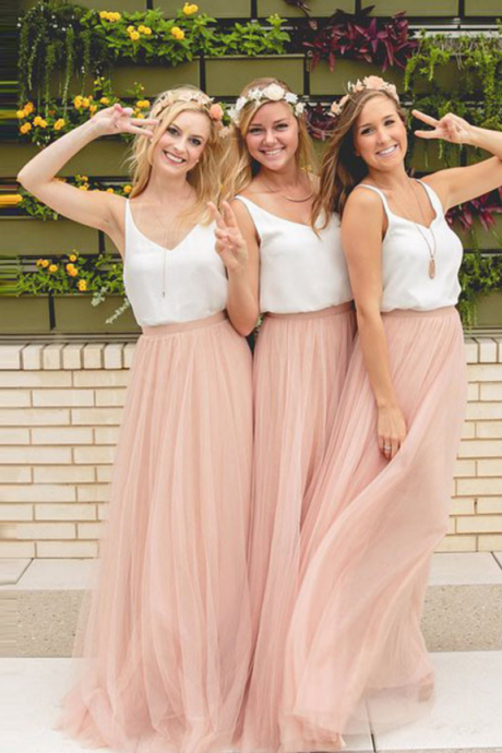 Blush Pink Bridesmaid Dress, Two Pieces Bridesmaid Dress, Beach Wedding Party Dresses
