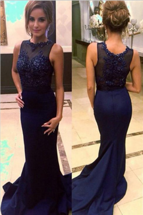Navy Blue Prom Dresses,Beaded Prom Dresses,Long Prom Dresses, Chiffon Prom Dresses, Mermaid Prom Dresses ,Prom Dresses