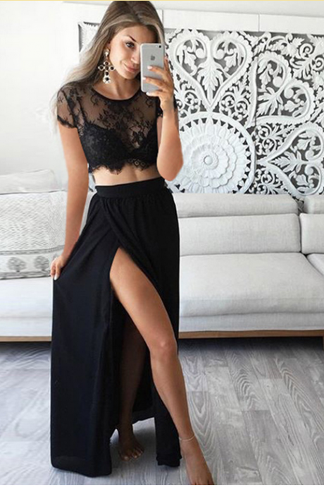 Prom Dresses, Black Prom Gown,Two Piece Prom Dresses,Sexy Prom Dresses,Evening Gown, Evening Dress,Formal Dress,Party Dress, Prom Dress Lace,Ball Gown,Cocktail Dress,Graduation Dress, Maxi Dress