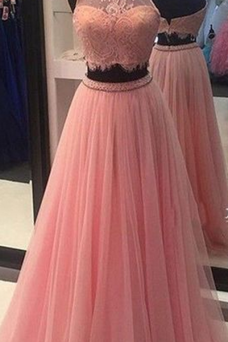 Prom Dresses,Prom Gown,Baby Pink Prom Dress,Prom Dress Two Piece,Lace Prom Dress,Prom Dress Cheap,Formal Dress,Evening Dress,Custom Plus size