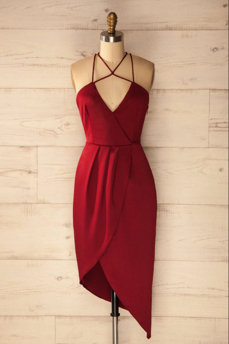 Cheap Sheath V-Neck Sleeveless Criss Cross Burgundy Satin Asymmetrical Homecoming Dress
