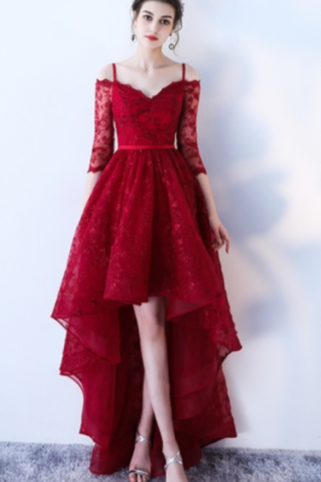 Red Half Sleeves Spaghetti Straps A-Line Lace Sashes Asymmetry Prom Dress