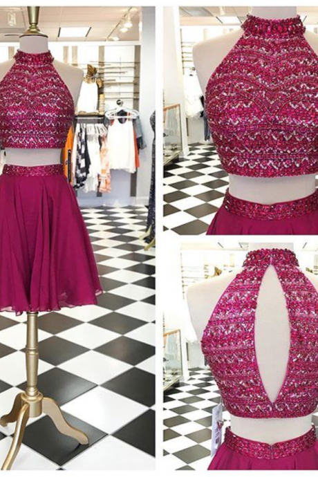 cheap homecoming dresses short ,Sparkly Two Piece Short Prom Dress Homecoming Dress, Beads Two Piece Maroon Short Prom Dress Homecoming Dress