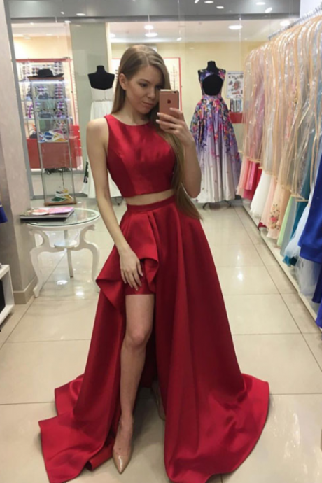 Cheap Prom Dresses two piece prom dresses,Red two pieces long long prom dress,red evening dresses,long cheap prom dresses