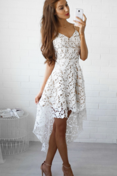 Spaghetti Straps Hi-Lo Lace V-Neck White Cheap Homecoming Dresses