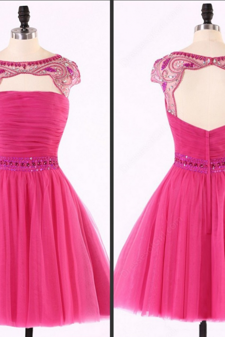 cheap homecoming dresses short ,Backless Homecoming dress, Sexy Hot Pink homecoming dress, Tulle homecoming dress, Sexy homecoming dress, dresses for homecoming,