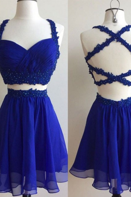 cheap homecoming dresses short,Hot Short Royal Blue Two Piece Chiffon Lace Backless Prom Dresses Homecoming Dress,Short Homecoming Dresses,Junior Prom Dresses,Graduation Dresses,Junior Formal Party Dress