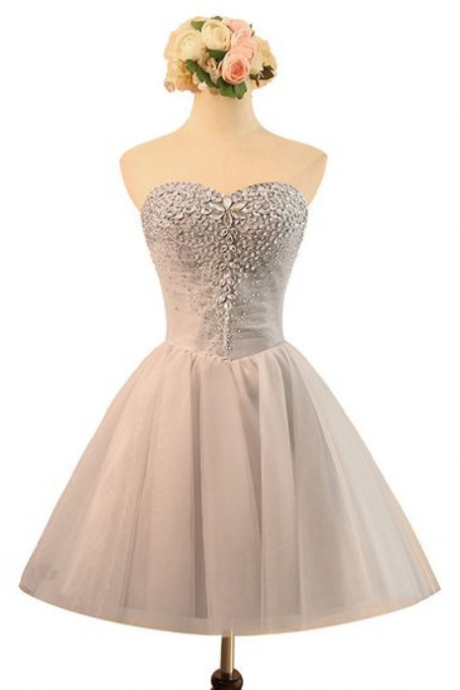 Beaded Embellished Sweetheart Short Tulle Homecoming Dress