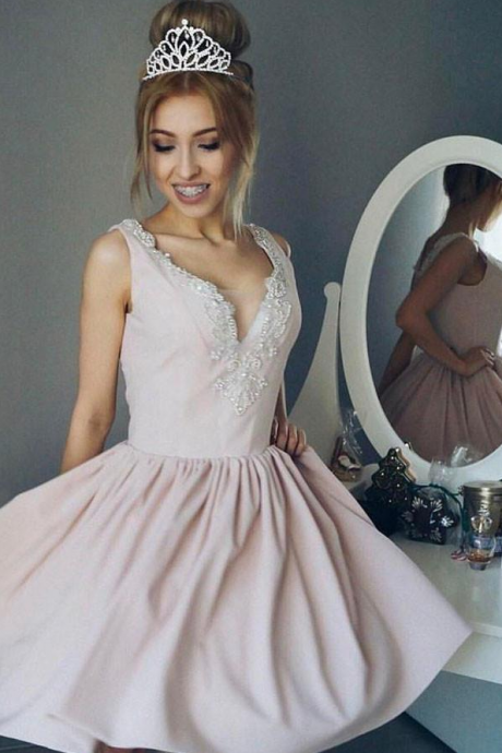 A-Line V-Neck Ruched Short Pearl Pink Satin Homecoming Dress with Beading,Mini Prom Dress