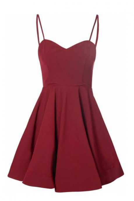 Burgundy Plunge V Spaghetti Strap Short A-Line Homecoming Dress