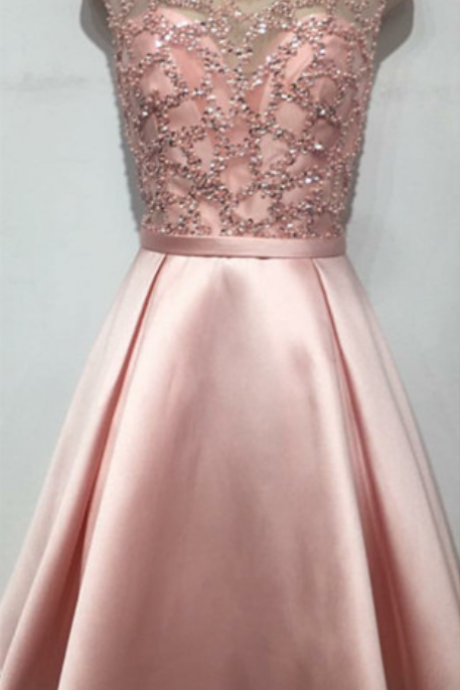 sequins beaded homecoming dress,cap sleeves homecoming dress,pink prom short dress,graduation dresses