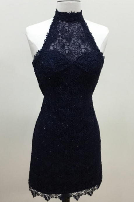 halter prom short dress,lace homecoming dress,navy blue homecoming dress,elegant party dresses