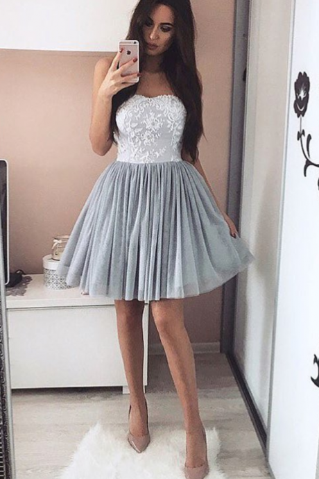 Elegant Homecoming Dress,Tulle Prom Short Dresses,Prom Dresses Lace Appliques,Strapless Cocktail Dresses