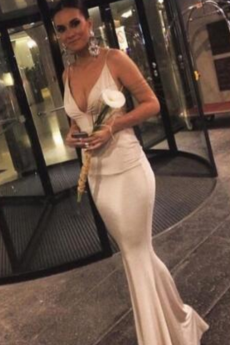 Sexy Prom Dress,V Neck Prom Dresses,Evening Party Dress,Simple Mermaid Evening Gowns,Formal Dresses,Prom Dresses