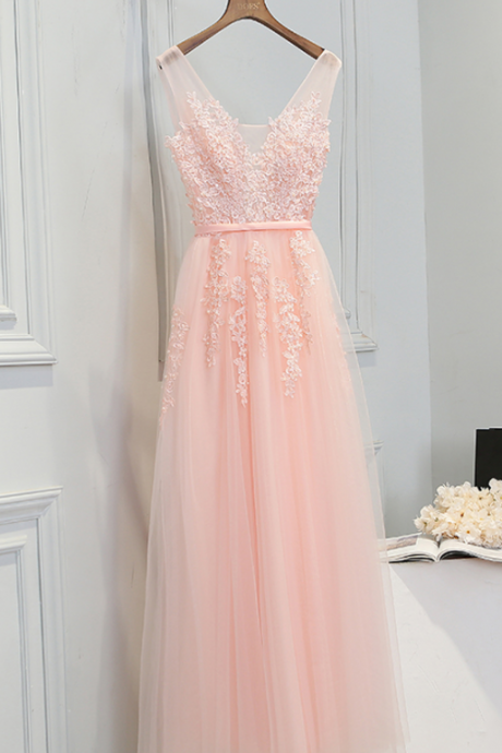 Elegant Baby Pink Tulle Appliques Pearls Prom Dresses,Sexy V Neck A Line Long Evening Gowns