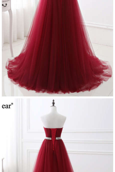 Tulle Formal Evening Gown ,Sweetheart Lace Up Back Burgundy Evening Dress