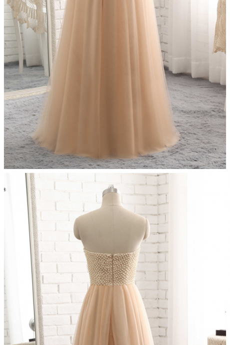 Champagne Long Formal Evening Dress , Pearls Top A Line Prom Dress Robe De Soiree
