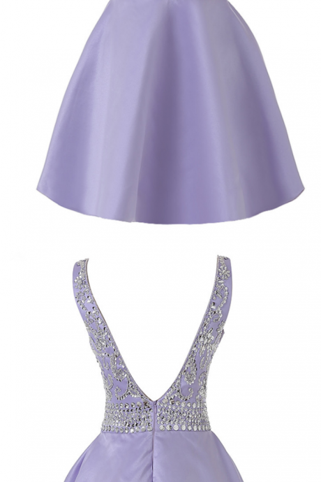 Real Photo V neck Lavender Short Homecoming Dress, Satin Beaded Sexy Backless Mini Prom Party Gowns