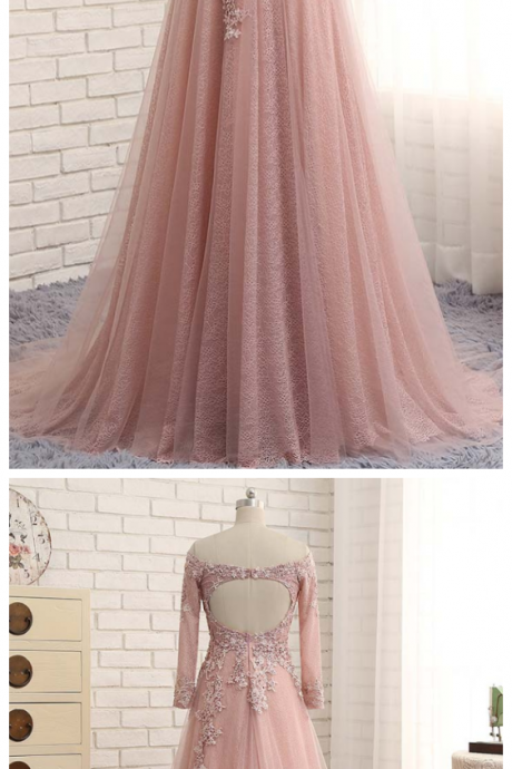 Lace Evening Dresses ,Party Tulle A Line Off Shoulder Beautiful Women Prom Formal Evening Gowns Dresses
