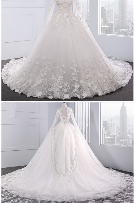 white wedding dress ,with beading Chapel Train ball gown wedding dresses