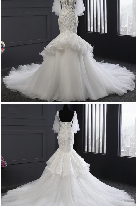 Mermaid Wedding Dresses , New Vestido De Noiva Short Sleeve Sweetheart Wedding Dress