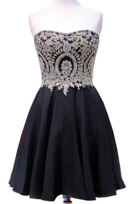 Cute A-line Sweetheart Sweet 16 Dresses Gold Beaded Lace Short Black Chiffon 8th Grade Prom Homecoming Dress