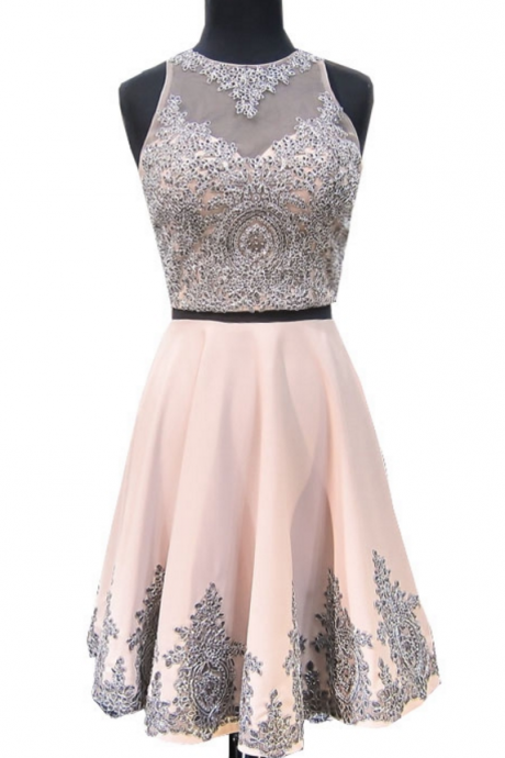Sweet 8th Grade Prom Dress A-line Scoop Neckline Beaded Lace Short Two Piece Sweet 16 Homecoming Dresses