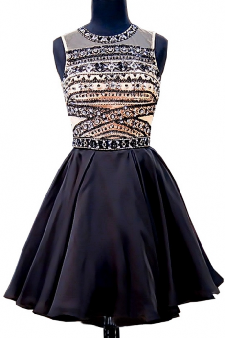 Stunning Junior 8th Grade Prom Party Dresses A-line Beaded Crystals Backless Black Short Homecoming Dress