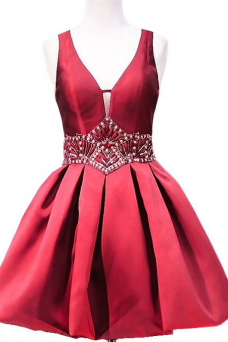Sweet A-line V-neck Sheer Back Beaded Crystals 8th Grade Prom Dresses Short Burgundy Party Homecoming Dress
