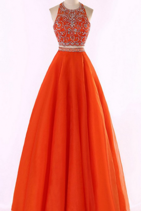 Orange tulle two pieces prom dress,halter beading rhinestone A-line long prom dresses ,shining evening dresses
