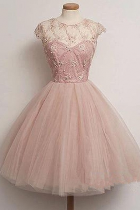 Homecoming Dresses, blush pink tulle Prom Dresses, party Dresses for girls,prom dress for teens,Graduation Dress,discount prom dress online