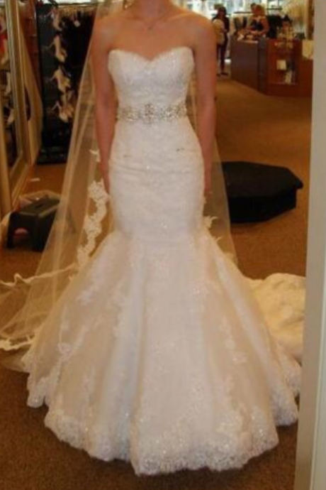 Custom Made Sweetheart Mermaid Wedding Dresses Chapel Train Ivory Tulle Appliques Beaded Belt Bridal Wedding Gowns Sleeveless