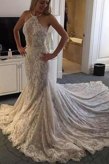 Elegant Halter Sleeveless Mermaid Court Train Lace Wedding Dress with Sash