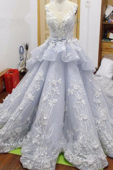 Real Photo Royal Blue Wedding Dress Illusion Luxury Chapel Train Beaded Appliques Vestido de Novia Button Bridal Gown