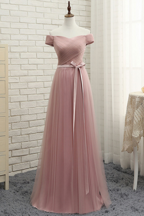 Elegant Blush Tulle Bridesmaid Dress,Long Off Shoulder Prom Dress with Sash,Sweetheart Bridesmaid Dresses
