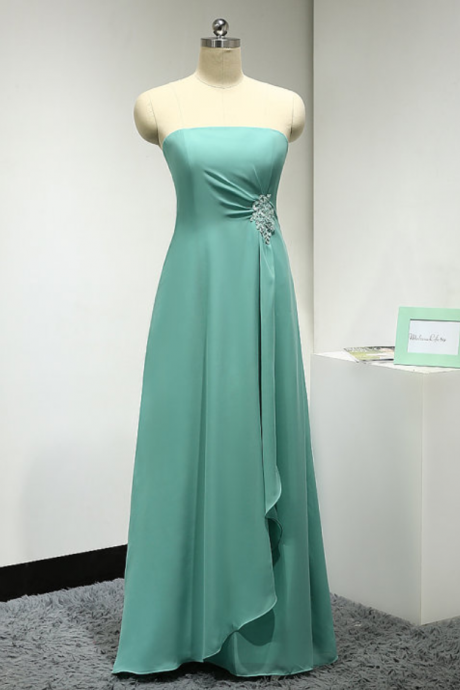 Chiffon bridesmaid Dresses Strapless Long Women Bridesmaid Dresses