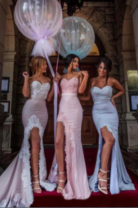 Sweetheart Bridesmaid Dresses, Mermaid Bridesmaid Dress ,Side Slit Bridesmaid Dresses,Elegant Bridesmaid Dresses, Formal Bridesmaid Gown,Bridesmaid Dress