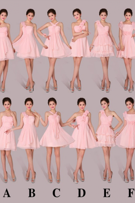 Pink Prom Dress,Chiffon Prom Dress,Fashion Bridesmaid Dress,Sexy Party Dress, New Style Evening Dress