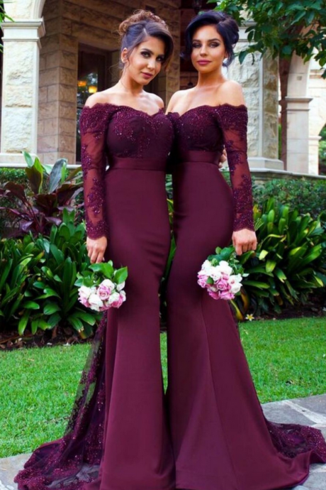 Bridesmaid dress,Sexy Bridesmaid Dress,Long Sleeve Bridesmaid Dress,Lace Bridesmaid Dress,Mermaid Bridesmaid Dress